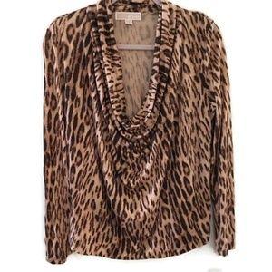 MICHAEL KORS leopard scoop neck long sleeve blouse